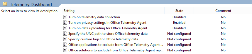 Office Telemetry Group Policy Settings